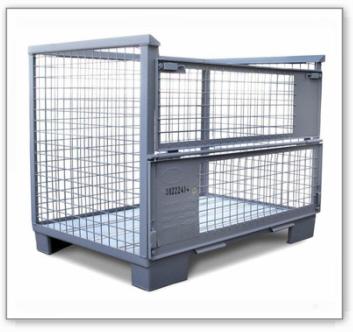 EURO-Gitterbox nach UIC 435-3, mit 2 Klappen, grau