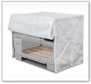 Gitterbox-Abdeckhaube, mit Reißverschlüssen an der Frontseite
