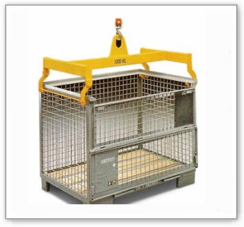 Gitterboxtraverse aus Stahl, 1000 kg Tragkraft, gelb