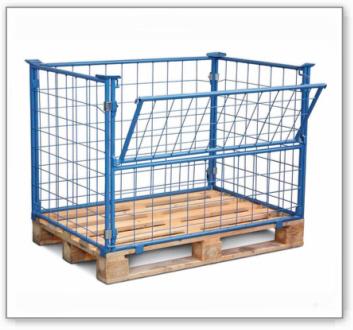 Gitteraufsatz für Europalette PG 16 aus Stahl, Nutzhöhe 1600 mm