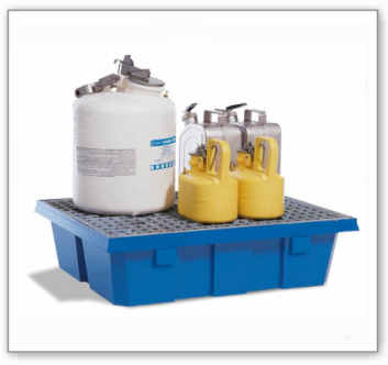 Auffangwanne PolySafe PSW 6.2 aus Polyethylen, mit verzinktem Gitterrost, für 2 Fässer à 60 l