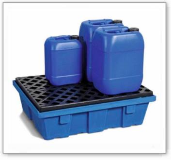 Auffangwanne PolySafe PSW 6.2 aus Polyethylen, mit PE-Gitterrost, für 2 Fässer à 60 Liter