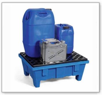 Auffangwanne PolySafe PSP 6.2 aus PE, mit Sockelfüßen und PE-Gitterrost, für 2 Fässer à 60 Liter
