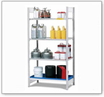 Gefahrstoffregal GRG 1040 für entzündbare Stoffe, 3 Gitterroste, 1060 x 440 x 2000 mm, Grundfeld