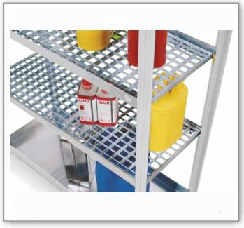 Gitterrost, verzinkt, als zusätzliche Lagerebene für Gefahrstoffregal GRG 1360 / PRG 1360 V