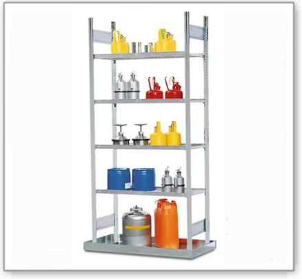 Gefahrstoffregal GRB 1060 für entzündbare Stoffe, mit Bodenwanne, 1010 x 725 x 2000 mm, Anbaufeld