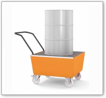 Fahrbare Auffangwanne base-line aus Stahl für 1 Fass à 200 Liter, lackiert, m. Gitterrost
