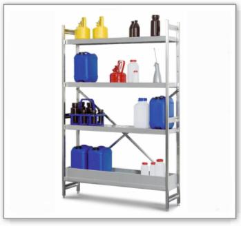 Gefahrstoffregal GRE 6030 für entzündbare Stoffe, Edelstahl, 600 x 300 x 1800 mm, Anbaufeld