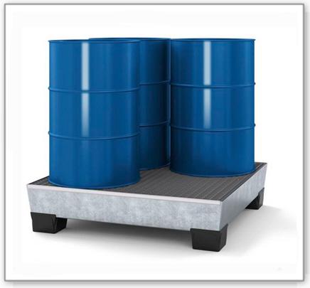 Auffangwanne pro-line aus Stahl für 4 Fässer, verzinkt, unterfahrbar, m. Gitterrost, 1236x1210x290