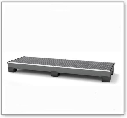Auffangwanne pro-line aus Stahl für 4 Fässer, lackiert, unterfahrbar, m. Gitterrost, 816x2470x250