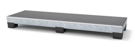 Auffangwanne pro-line aus Stahl für 4 Fässer, verzinkt, unterfahrbar, m. Gitterrost, 816x2470x250