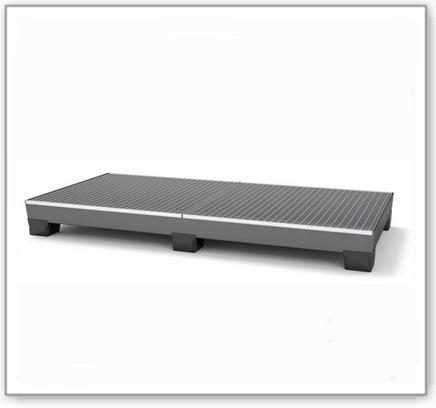 Auffangwanne pro-line aus Stahl für 8 Fässer, lackiert, unterfahrbar, m. Gitterrost, 2455x1210x250