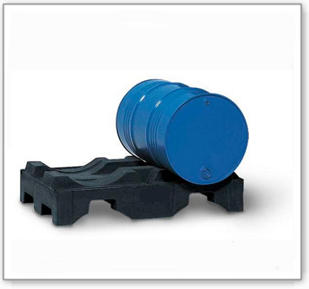 Fasspalette aus Polyethylen (PE), für 2 Fässer à 200 Liter, schwarz, für die liegende Lagerung