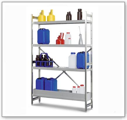Gefahrstoffregal GRE 1250 für entzündbare Stoffe, Edelstahl, 1200 x 500 x 1800 mm, Grundfeld