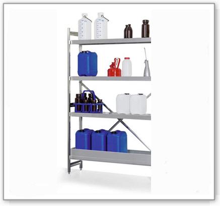 Gefahrstoffregal GRE 1250 für entzündbare Stoffe, Edelstahl, 1200 x 500 x 1800 mm, Anbaufeld