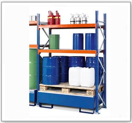 Fass- und Kleingebinderegal GRS 1250, lackierte Auffangwanne, 2 Gitterrostböden, Anbaufeld