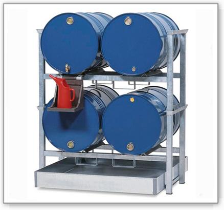 Fassregal AWS 1 für 4 Fässer à 200 Liter, mit Auffangwanne aus Stahl-205l, PE-Kannenträger