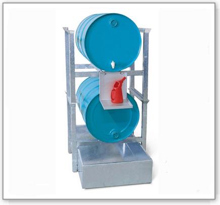 Fassregal AWS 2 für 2 Fässer à 200 Liter, Auffangwanne aus Stahl, Kannenträger verzinkt