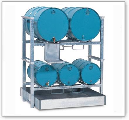 Fassregal AWS 3 für 3 Fässer à 60 und 2 Fässer à 200 Liter, Auffangwanne Stahl-205l, Kannenträger vz