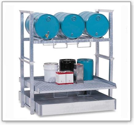 Fass- und Kleingebinderegal AWS 4 für 3 Fässer à 60 Liter und Kleingebinde, Auffangwanne aus Stahl