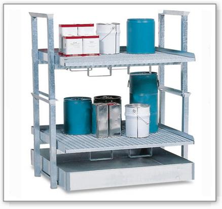 Kleingebinderegal AWS 6, Auffangwanne aus Stahl, 2 verzinkte Gitterroste