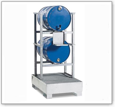 Fassregal AWS 9 für 2 Fässer à 200 Liter, Auffangwanne aus Stahl, Kannenträger verzinkt