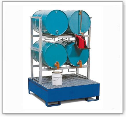 Fassregal AWS 10 für 4 Fässer à 200 Liter, Auffangwanne aus Stahl-205l, lackiert, PE-Kannenträger