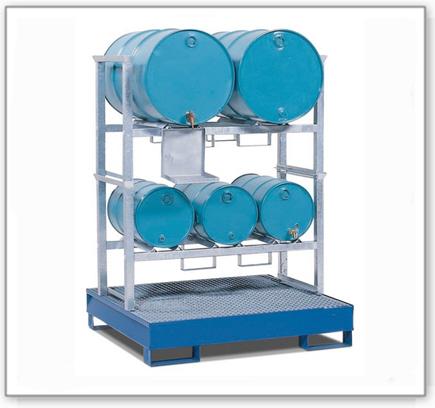 Fassregal AWS 11 für 3 Fässer à 60 und 2 Fässer à 200 Liter, Auffangwanne aus Stahl-205l, lackiert
