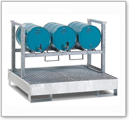 Fassregal AWS 12 für 3 Fässer à 60 Liter, Auffangwanne aus Stahl