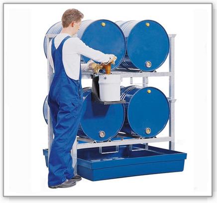 Fassregal AWK 1 für 4 Fässer à 200 Liter, Auffangwanne aus Polyethylen (PE)