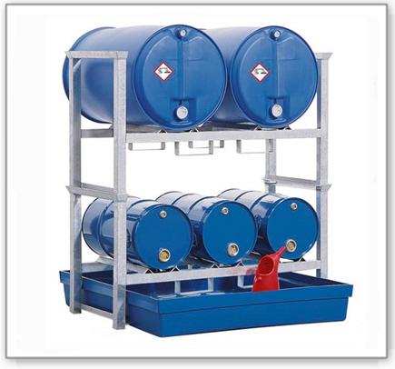 Fassregal AWK 3 für 3 Fässer à 60 und 2 Fässer à 200 Liter, Auffangwanne aus Polyethylen (PE)