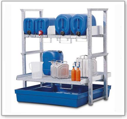 Kanisterregal und Kleingebinderegal AWK 4, mit Auffangwanne aus Polyethylen (PE)