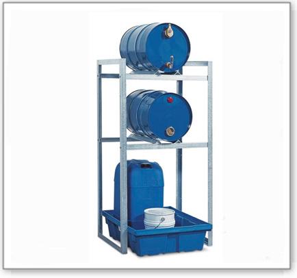 Fassregal FR-K 2-60 für 2 Fässer à 60 Liter, mit Auffangwanne aus Polyethylen (PE)