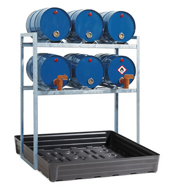 Fassregal FR-K 6-60 für 6 Fässer à 60 Liter, mit Auffangwanne aus Polyethylen (PE)