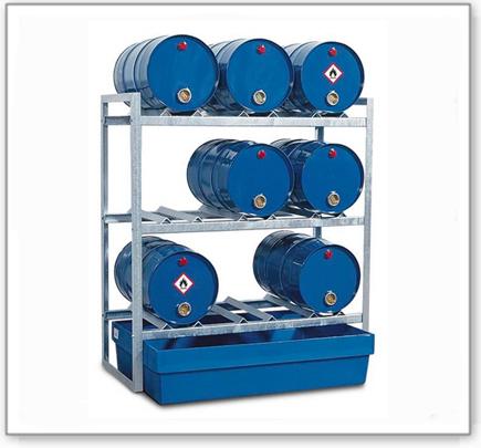 Fassregal FR-K 9-60 für 9 Fässer à 60 Liter, mit Auffangwanne aus Polyethylen (PE)