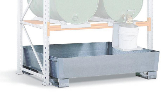 Regalwanne PRW 43 aus Stahl, für Regale mit Fachbreite 1800 mm, verzinkt, mit Gabeltaschen