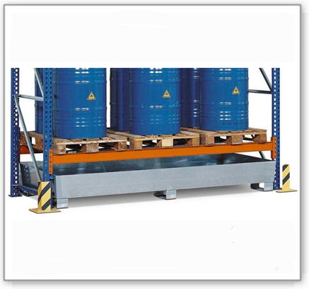Regalwanne PRW 65 aus Stahl,  für Regale mit Fachbreite 2700 mm, verzinkt, mit Gabeltaschen