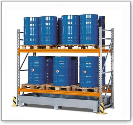 Palettenregal PR 27.25 für 6 Euro- oder 4 Chemiepaletten, mit 2 Lagerebenen, Grundfeld