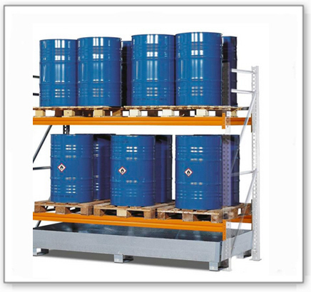Palettenregal PR 27.25 für 6 Euro- oder 4 Chemiepaletten, mit 2 Lagerebenen, Anbaufeld