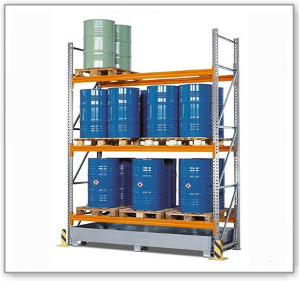 Palettenregal PR 27.37 für 9 Euro- oder 6 Chemiepaletten, mit 3 Lagerebenen, Grundfeld