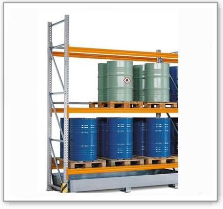 Palettenregal PR 27.37 für 9 Euro- oder 6 Chemiepaletten, mit 3 Lagerebenen, Anbaufeld