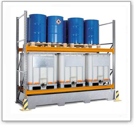 Palettenregal PR 33.25, für 6 Euro- oder 6 Chemiepaletten oder 6 IBC, mit 2 Lagerebenen, Grundfeld