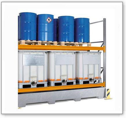 Palettenregal PR 33.25 für 6 Euro- oder 6 Chemiepaletten oder 6 IBC, mit 2 Lagerebenen, Anbaufeld