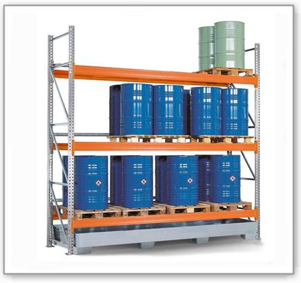 Palettenregal PR 33.37 für 9 Euro- oder 9 Chemiepaletten, mit 3 Lagerebenen, Grundfeld