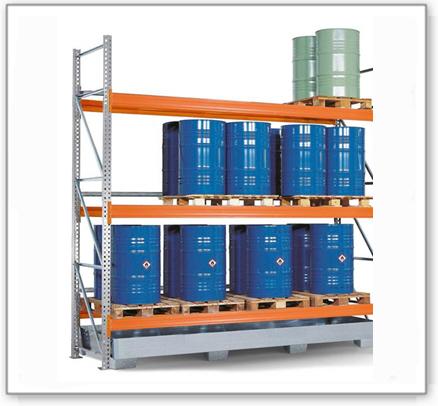 Palettenregal PR 33.37 für 9 Euro- oder 9 Chemiepaletten, mit 3 Lagerebenen, Anbaufeld