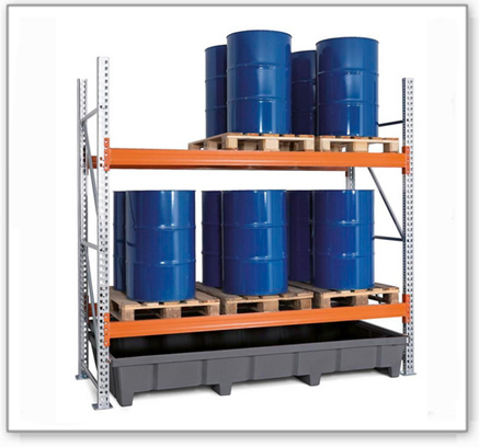 Palettenregal PRP 27.25 für 6 Euro- oder 4 Chemiepaletten, mit 2 Lagerebenen, Grundfeld