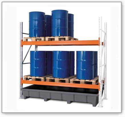 Palettenregal PRP 27.25 für 6 Euro- oder 4 Chemiepaletten, mit 2 Lagerebenen, Anbaufeld
