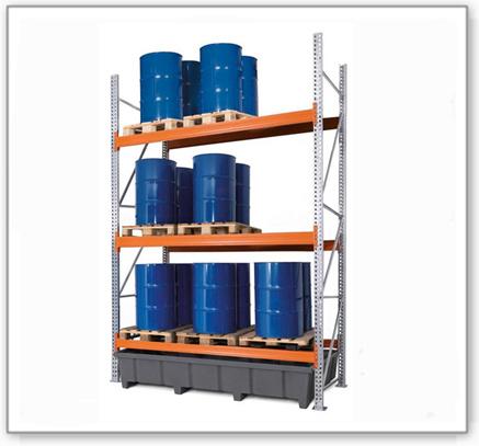 Palettenregal PRP 27.37 für 9 Euro- oder 6 Chemiepaletten, mit 3 Lagerebenen, Grundfeld