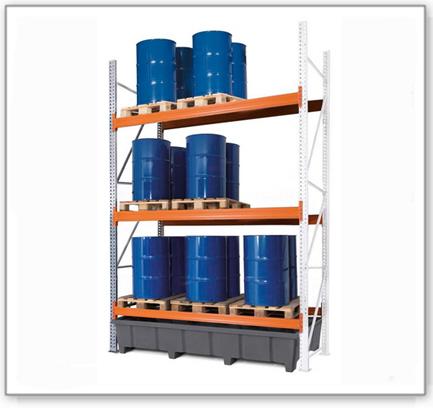 Palettenregal PRP 27.37 für 9 Euro- oder 6 Chemiepaletten, mit 3 Lagerebenen, Anbaufeld