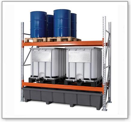 Palettenregal PRP 27.27 für 6 Euro- oder 4 Chemiepaletten oder 4 IBC, mit 2 Lagerebenen, Grundfeld